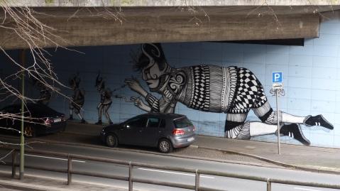 """Storpviertel; Oberschlesienstraße; SKOUNT; """"The Automaton Repairer"""" (2012)"""""""